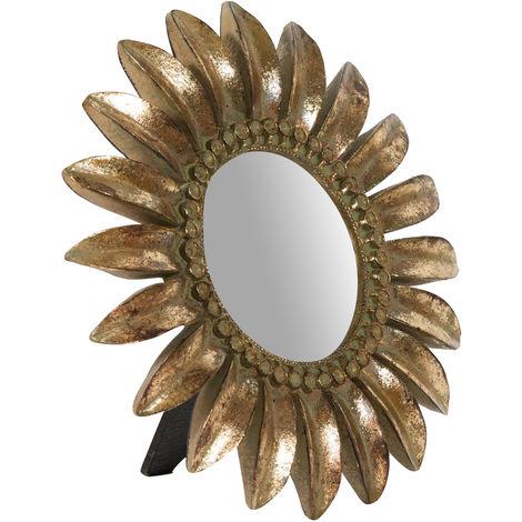 Espejo de apoyo 23x3x23 cm acabado con efecto oro envejecido