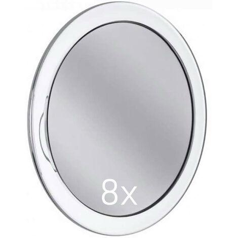 Espejo de Aumento de 8X, con Ventosas para la Pared, Espejo Cosmético Diámetro 15cm