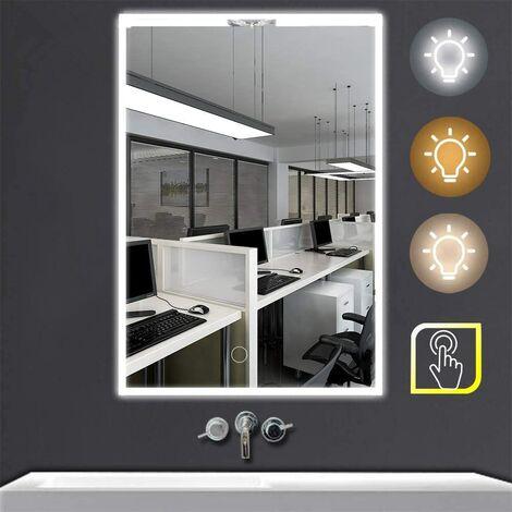 Espejo de baño (50 x 70 cm, con iluminación LED, ahorro de energía, material de aleación de aluminio, con certificado CE, 550LUX, 90CRI, 25,3 luces)