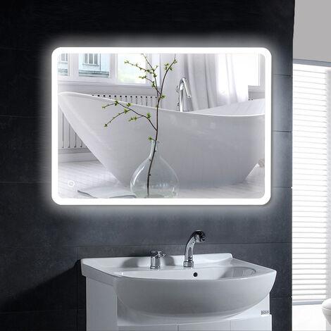 Espejo de baño con control táctil iluminado, ángulo redondo (80 * 60 cm)