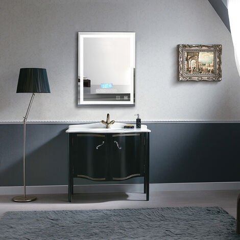 Espejo de baño con iluminación, altavoces Bluetooth y control táctil regulable (60x80cm)