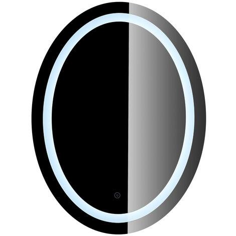 Espejo de baño con iluminación LED, forma ovalada 60 x 80 cm