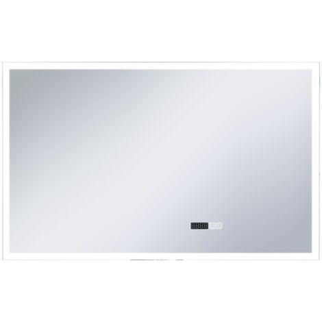 Espejo de baño con LED, sensor táctil y reloj 100x60 cm
