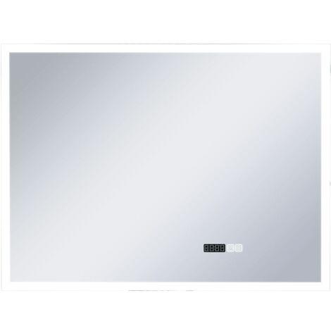 Espejo de baño con LED, sensor táctil y reloj 80x60 cm