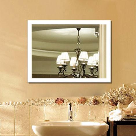 Espejo de baño con luces LED + interruptor táctil antiniebla
