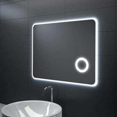 Espejo Bano Aumento Con Luz.Espejo De Bano Con Lupa De Aumento Retroiluminado Con Luz Led Integrada
