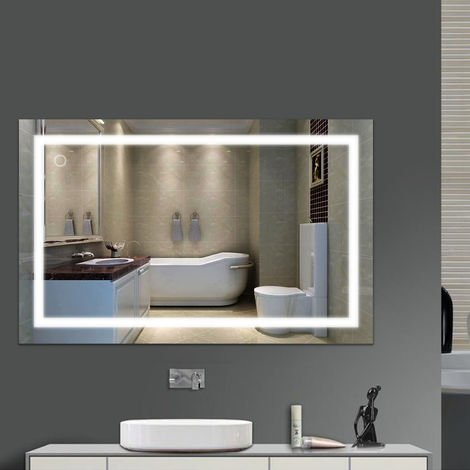 Espejo de baño de 23 W con lámpara de espejo LED Vidrio templado brillante Blanco frío 6000 K, interruptor táctil -100 * 60 cm