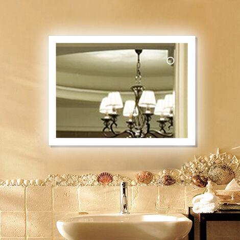 Espejo de baño LED con iluminación por superficies luminosas esmeriladas Táctil 90 * 70cm