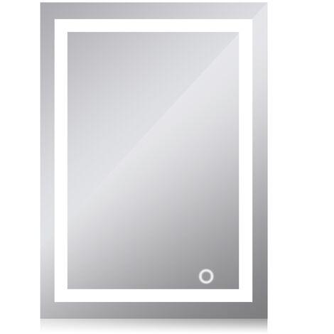 Espejo de baño LED de pared - Blanco frío 6500K Interruptor táctil de alta calidad 60x80cm