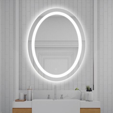 Espejo de baño, luz antiniebla LED, espejo de pared Oval espejo de baño con mate (80 * 60 cm)