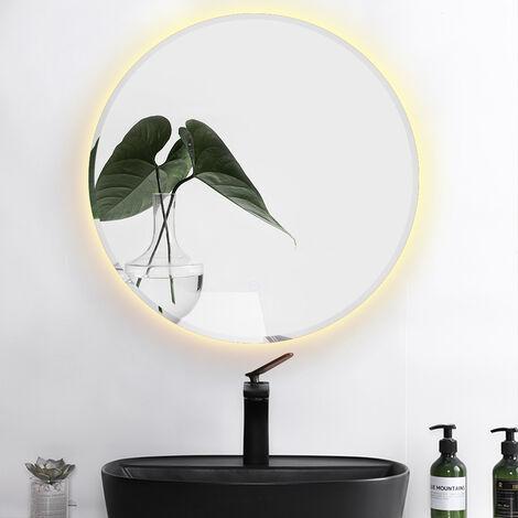 """main image of """"Espejo de baño redondo antivaho  Borde biselado   Blanco cálido   60 * 60 * 4.5cm"""""""