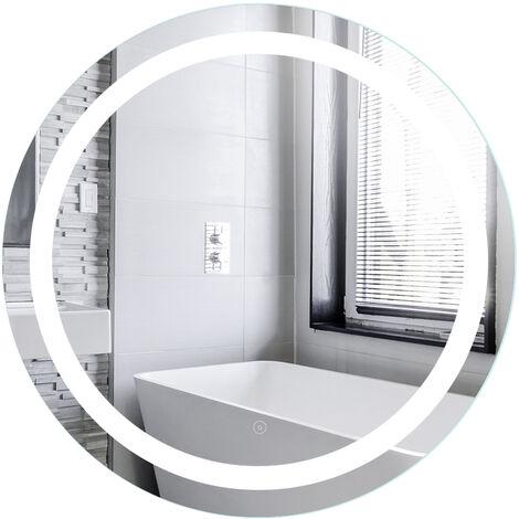Espejo de baño redondo antivaho | Mercurio sin cobre de 4 mm | blanco frío | 60 * 60 * 4.5 cm