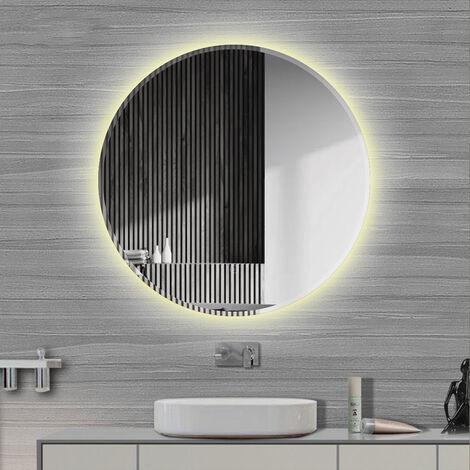 Espejo de Baño Redondo de Pared, con LED Iluminación Espejo, con Interruptor Táctil y Función Antiniebla,Diámetro 60 cm