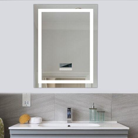 Espejo de baño,Audio Bluetooth, Pantalla LCD , antivaho, Dos Colores claros (Blanco frío/Blanco cálido), 60 * 80 cm