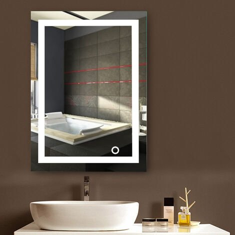 Espejo de baño,Espejo led,22W + Interruptor Blanco frío + Toque (60 * 80 cm)