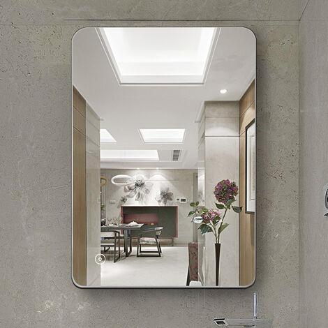 Espejo de baño,Espejo led,Frío Blanco (6400K) + 5050LED + Impermeable + Interruptor táctil, 50 * 70cm