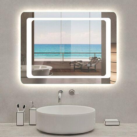 Espejo de baño,Espejo led,Interruptor táctil Dual + Blanco frío 6000k + Función antivaho
