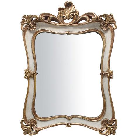 Espejo de colgar 26,5x4,5x37,5 cm acabado con efecto plata/blanco envejecido