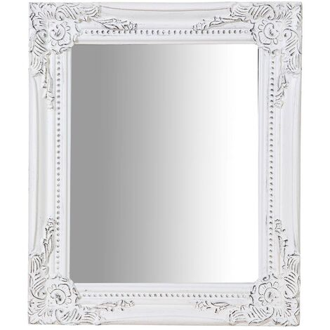 Espejo de colgar vertical/horizontal 27x3x32 cm acabado con efecto blanco envejecido