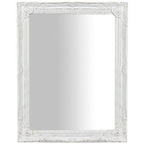 Espejo de colgar vertical/horizontal 36,5x3x47 cm acabado con efecto blanca envejecida