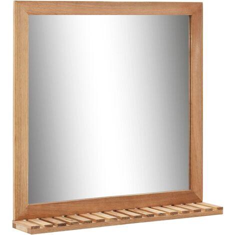 Espejo de cuarto de baño 60x12x62 cm madera maciza de nogal