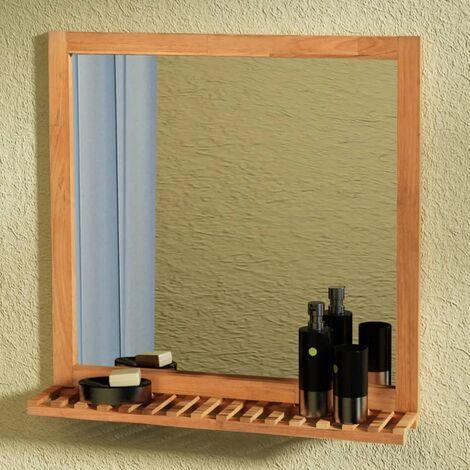 Espejo de cuarto de baño 60x63 cm madera maciza de nogal -
