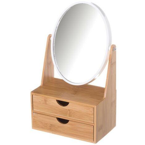 Espejo de Doble Aumento con Cajones, realizado en Bambú, para el Baño. Diseño Nórdico, con estilo Minimalista - Hogar y Más
