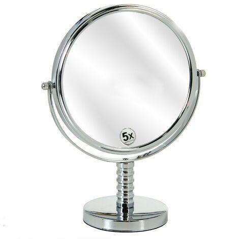 Espejo de Doble Cara, de Metal Cromado, para Baño. Diseño Clásico, con estilo Basic - Hogar y Más