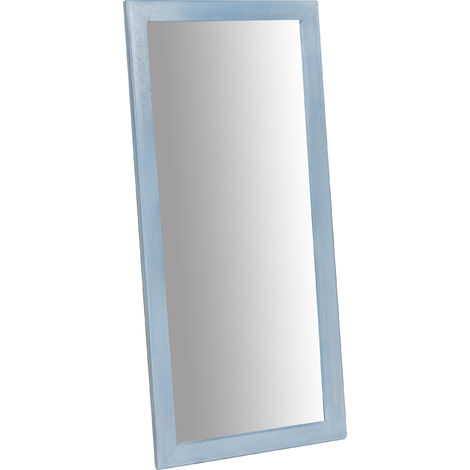 Espejo de la pared rectangular, de madera maciza de tilo acabado con efecto azul 37x3x80 cm Made in Italy