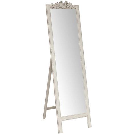 Espejo de la tierra L50XPR3XH175 cm acabado con efecto blanco envejecido