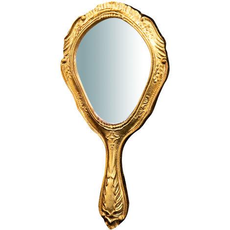 Espejo de mano de madera acabado hoja con efecto oro envejecido L14xPR1,5xH30 cm Made in Italy