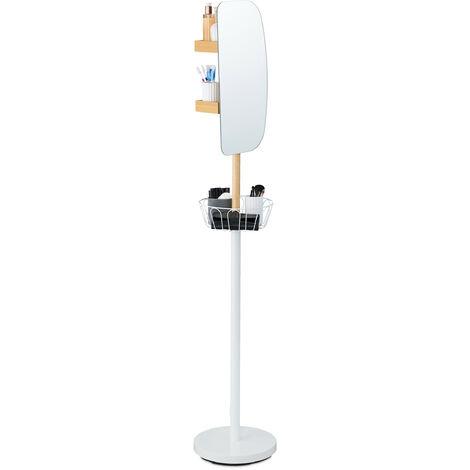 Espejo de maquillaje, Cesta de baño, Dos estantes, 360º, De pie, 182 x 33 cm, 1 Ud., Blanco & Marrón