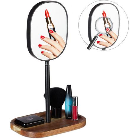 Espejo de maquillaje con balda, Baño & Dormitorio, Metal & Madera, Aumento, 35 x 20 x 14 cm, 1 Ud., Marrón