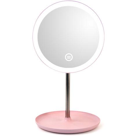 Espejo de maquillaje con luz, rosa