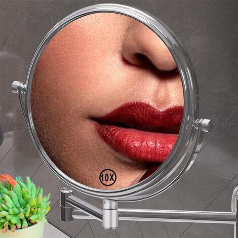 Espejo de maquillaje Espejo cosmético 10X Espejo de lupa 20CM Espejo de pared Espejo de aumento efecto lupa maquillar soporte baño mujeres