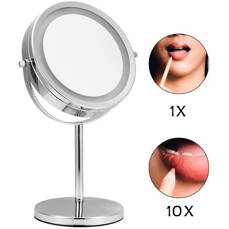 Espejo de maquillaje Espejo cosmético LED 10X Espejo de lupa Espejo de pared Iluminado Espejo de aumento efecto lupa maquillar afeitar