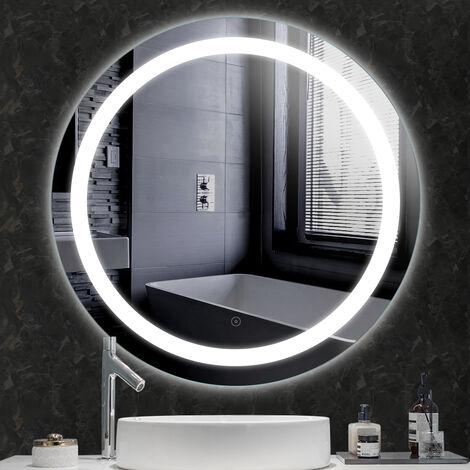 "main image of ""Espejo de maquillaje Espejo de pared redondo + Iluminación LED e interruptor táctil 80 * 80 * 4.5cm"""