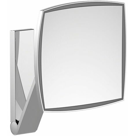 Espejo de maquillaje Keuco iLook_move, 17613, con iluminación, 1 color de luz, superficie del espejo: 200 x 200 mm, cromado - 17613019003