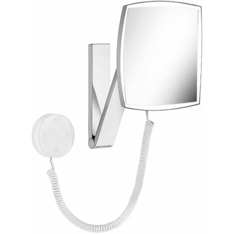 Espejo de maquillaje Keuco iLook_move, 17613, iluminado, color de luz ajustable en 5 niveles, superficie del espejo: 200x200 mm, cromado - 17613019000