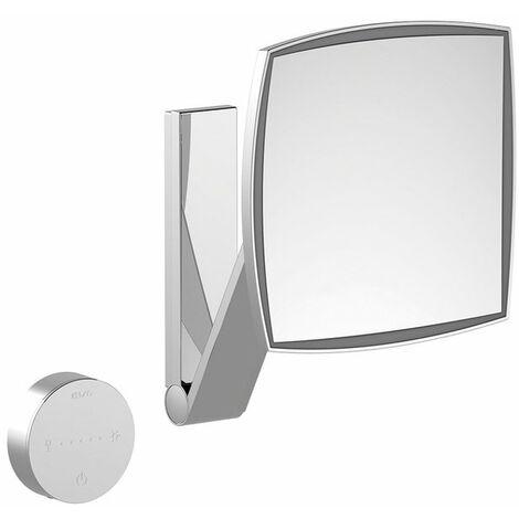 Espejo de maquillaje Keuco iLook_move, 17613, iluminado, color de luz regulable en 5 niveles, superficie del espejo: 200 x 200 mm, cromado - 17613019002