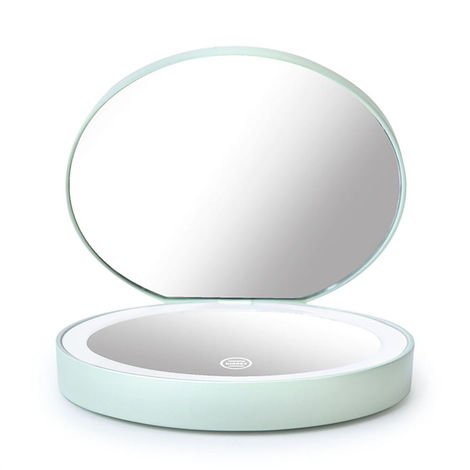Espejo de maquillaje Mini LED Luz Pantalla tactil Ampliable plegable con cable de carga, verde