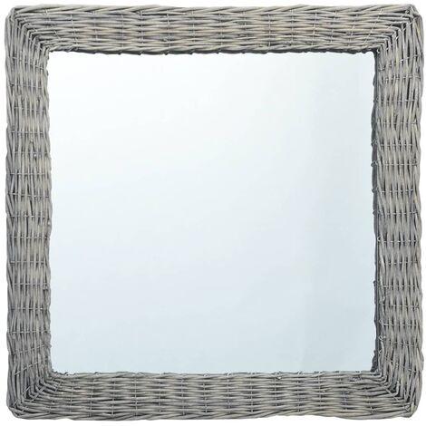 Espejo de mimbre 60x60 cm - Marrón