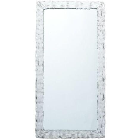 Espejo de mimbre blanco 120x60 cm