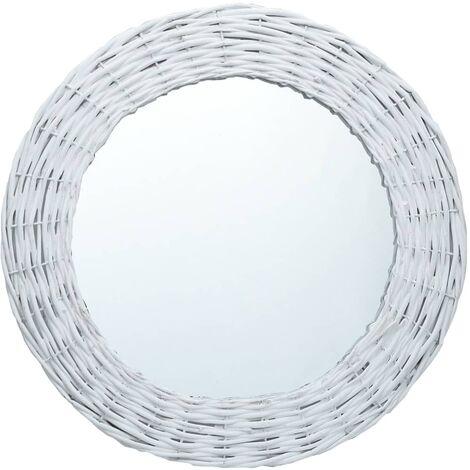 Espejo de mimbre blanco 60 cm