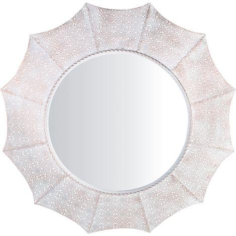 Espejo de pared ø68 cm blanco/cobre MYSORE