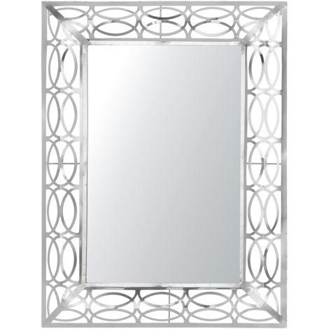 Espejo de pared 80x60 cm plateado MALPAS