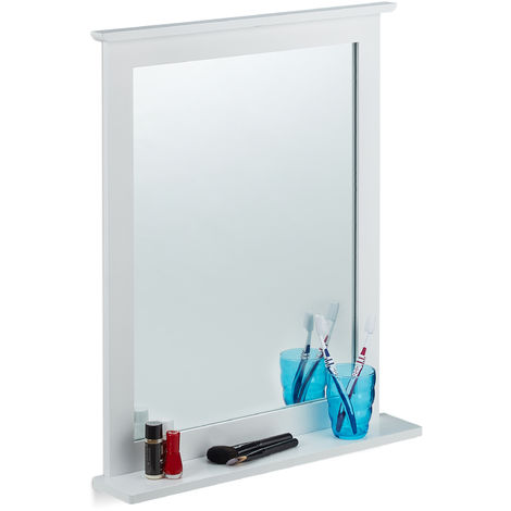 Espejo de pared, Bambú, Rectangular, 68 x 56 x 10 cm, Blanco