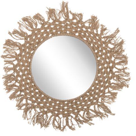 Espejo de pared beige Ø60 cm VARANASI