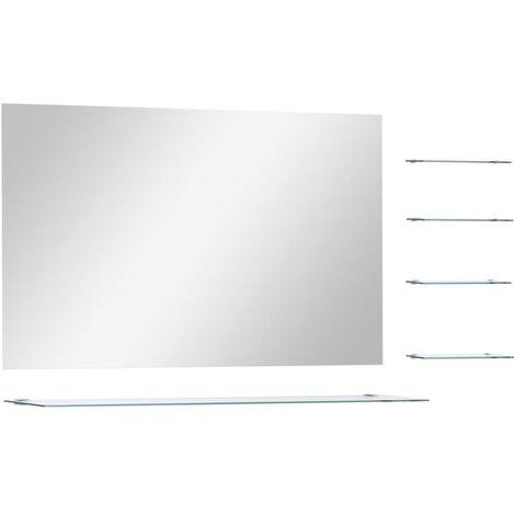 Espejo de pared con 5 estantes plateado 100x60 cm