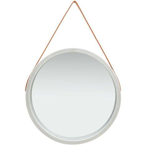 Espejo de pared con correa plateado 60 cm